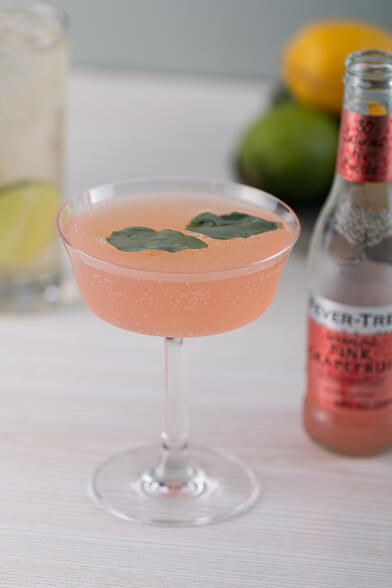 Sparkling Basil Paloma healthy cocktail