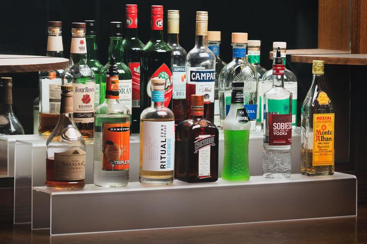 liquor bottle shelves