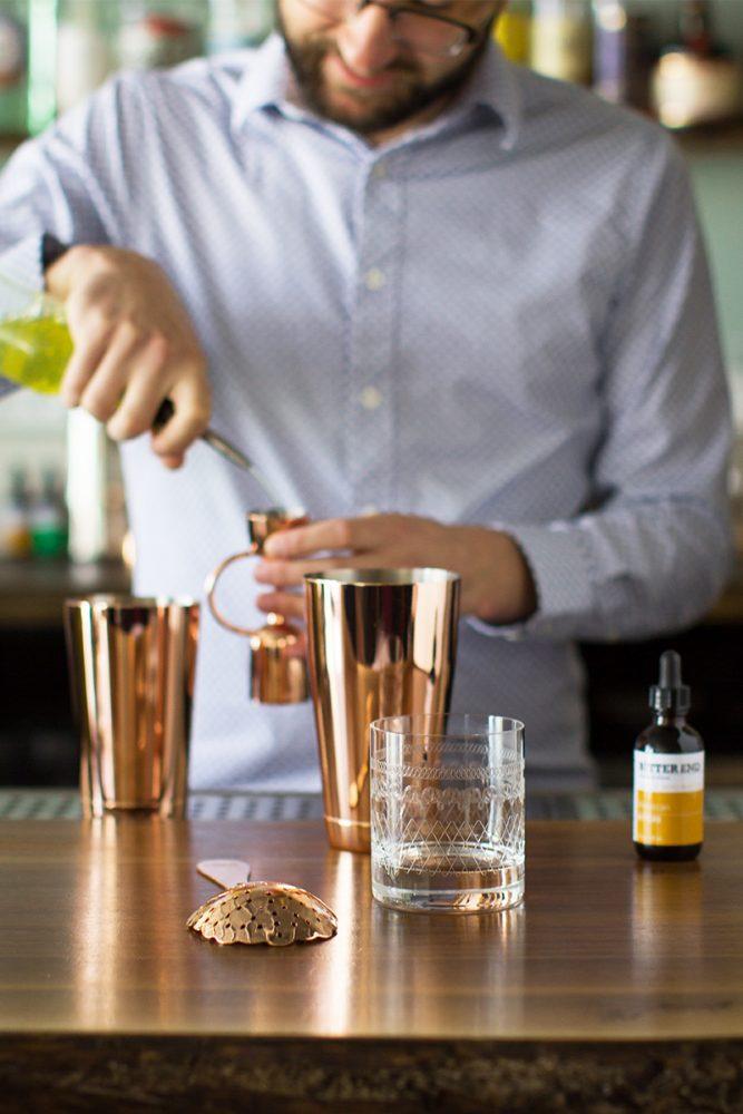 measuring cocktail ingredients