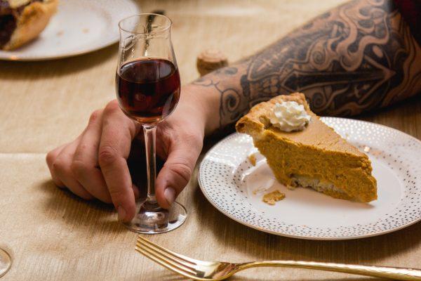 Port Wine Glass Next To Pie