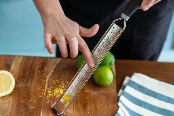 Removing lemon zest from zester