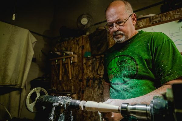 Joe Wiesnet in his wood turning studio