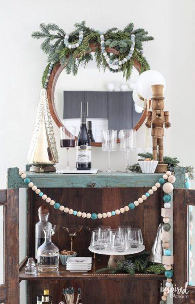 Coastal Holiday Bar Cart