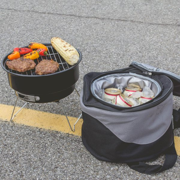 Tailgating cooler with grill