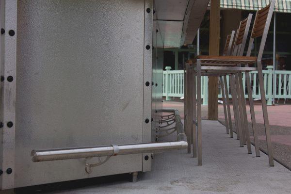 Bar foot rail bracket closeup shot