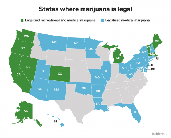 A map of the United States showing where marijuana has been legalized.