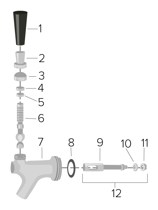 parts of a beer faucet