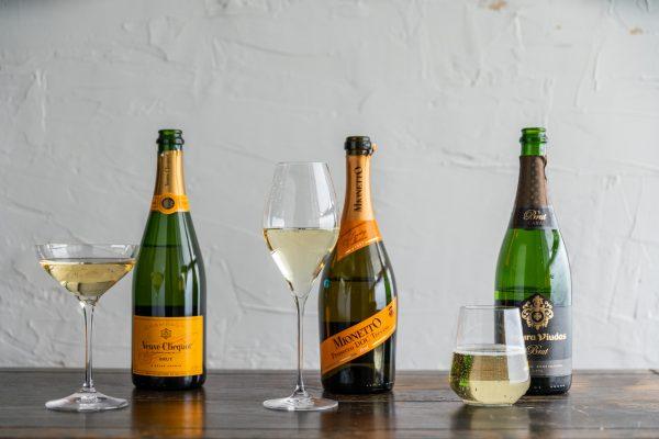 Champagne, Prosecco, and Cava with glasses