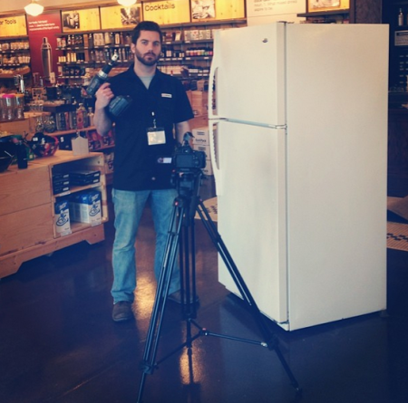 Tim Shisler of the KegWorks Store, Working on a Converted Refrigerator