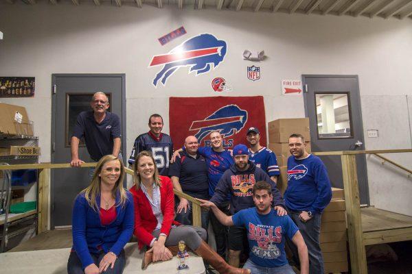 Kegworks warehouse wearing Buffalo Bills colors
