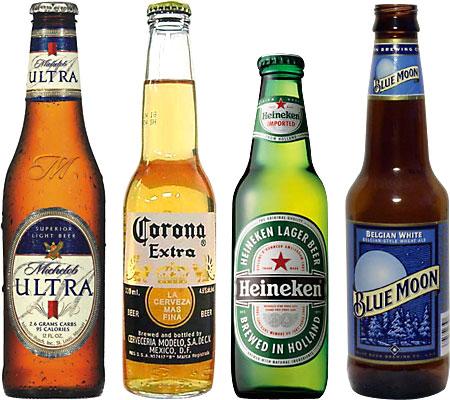 Michelob Ultra, Corona, Heineken, Blue Moon