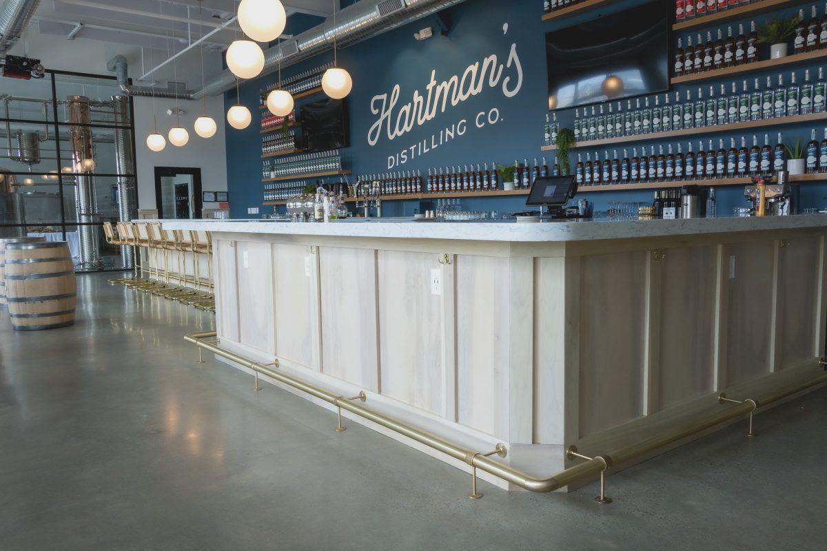 hartmans distilling brushed brass bar rail