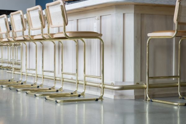 brushed brass foot rail
