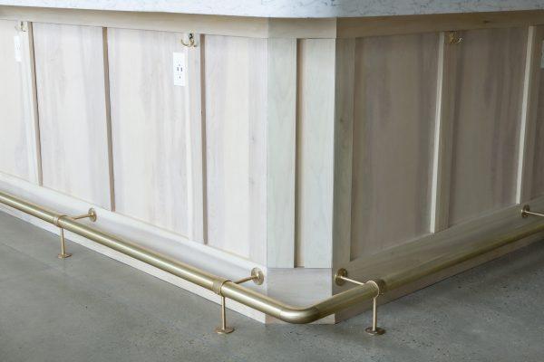 brushed brass bar rail