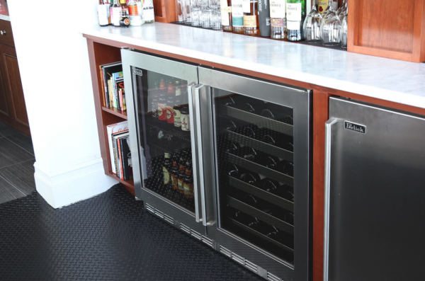 wine fridge in kitchen