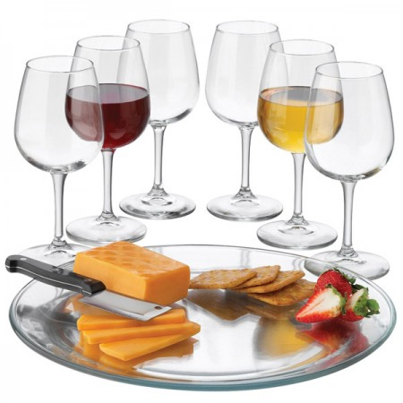 Libbey Wine Service Set with Glasses, Tray, and Cheese Knife