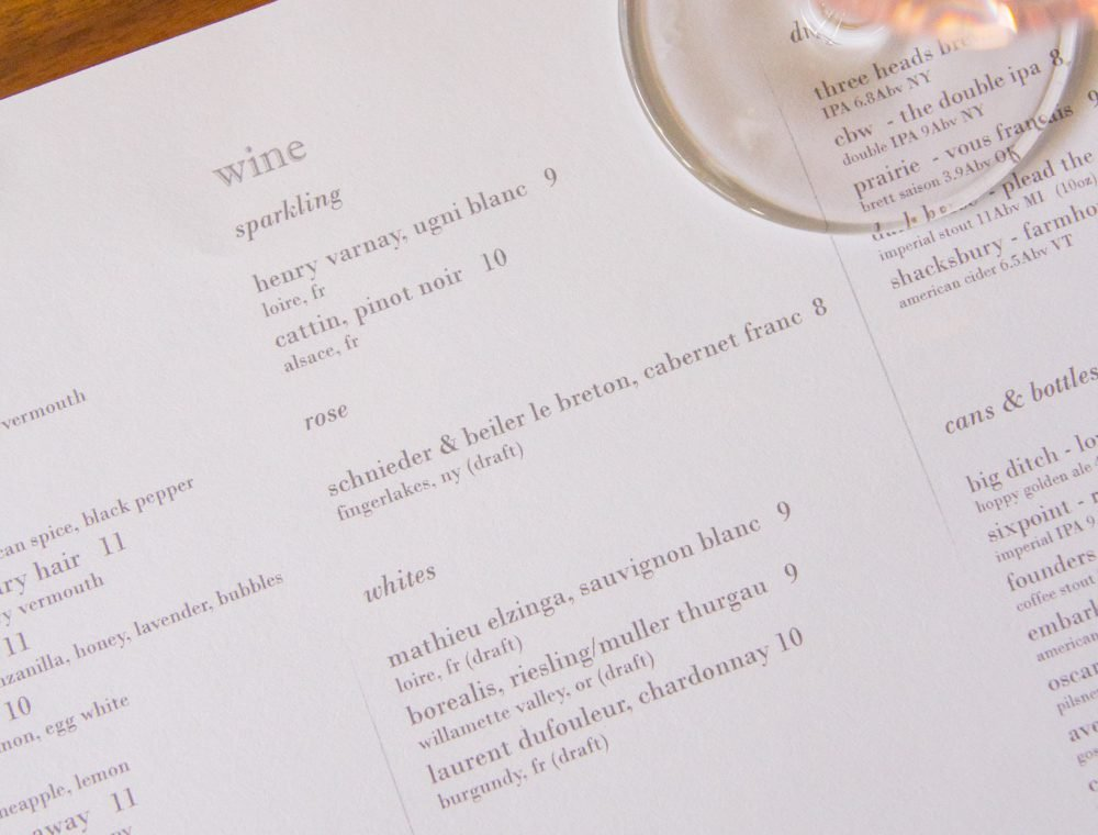 draft wine menu