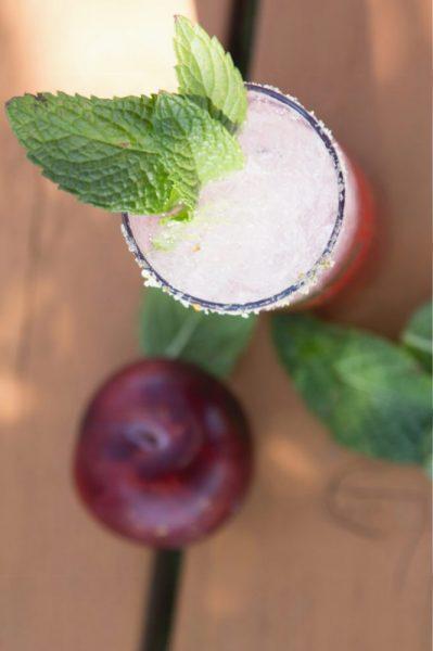 Overhead shot of Plum Infused Rum Mojito