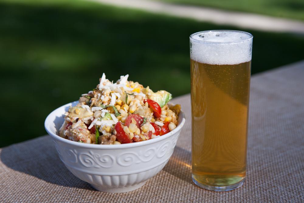 shrimp salad and beer