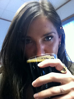 Me drinking Southern Tier Oatmeal Stout