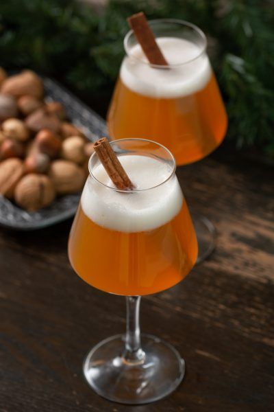 Christmas Ale in Teku Glass with Cinnamon Stick